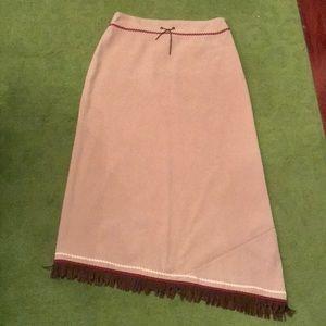 Trafaluc Suede with Fringe Midi Skirt -Size8